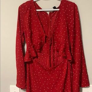 Red Polka Dot Wide Leg Jumpsuit Front Tie Cut Out